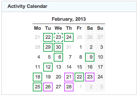 activity calendar 20130228