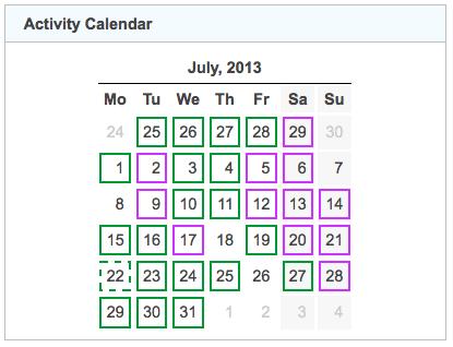 activity calendar 20130731